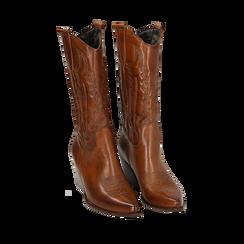 Camperos color cuoio in pelle di vitello, 5,50 cm , Primadonna, 16A511944VICUOI035, 002a