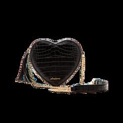 Borsa a tracolla nera forma a cuore, in ecopelle stampa coccodrillo, Borse, 125921719CCNEROUNI, 001 preview