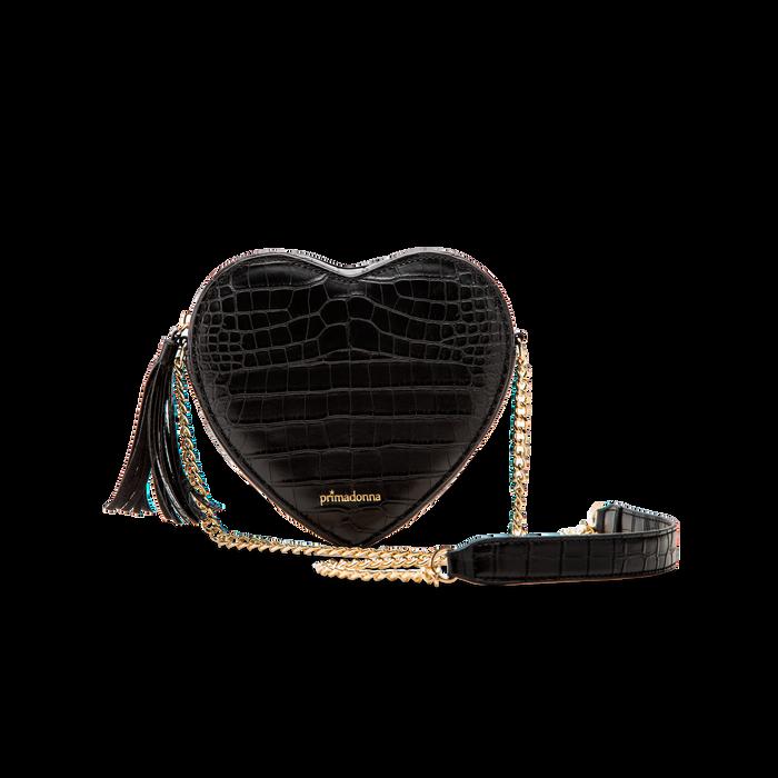 Borsa a tracolla nera forma a cuore, in ecopelle stampa coccodrillo, Borse, 125921719CCNEROUNI