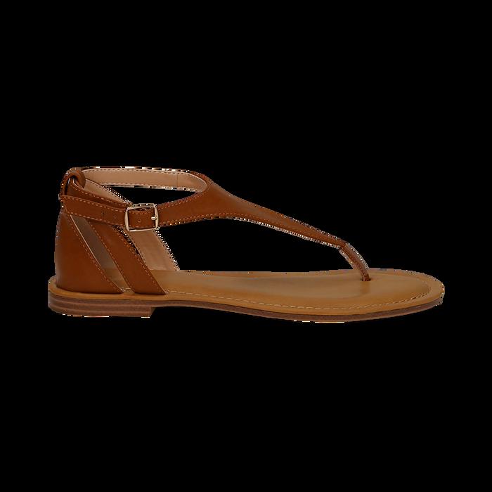 Sandali infradito cuoio in eco-pelle, Saldi Estivi, 134958215EPCUOI036