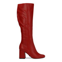 Stivali rossi punta arrotondata, tacco 7,5 cm, Scarpe, 122182011EPROSS036, 001a