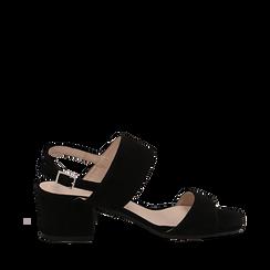 Sandali neri in camoscio, tacco chunky 6 cm, Primadonna, 13D602056CMNERO036, 001a