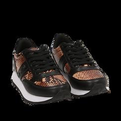 Sneakers marron imprimé python, Primadonna, 162619079PTMARR035, 002a