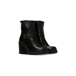 Tronchetti neri in vera pelle con fibbia rettangolare, tacco 5 cm, Primadonna, 127723803PENERO, 002 preview