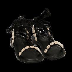 Sandali lace-up neri in microfibra con conchiglie, Zapatos, 154948229MFNERO036, 002 preview