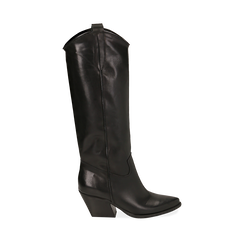 Camperos neri in pelle di vitello, tacco 7 cm, Scarpe, 14A200902VINERO035, 001a