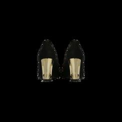 Décolleté nere scamosciate con tacco scultura effetto mirror 8 cm, Scarpe, 122196902MFNERO, 003 preview
