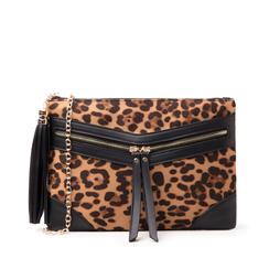 Pochette leopard-marrone in microfibra, Borse, 145122216MFLEMAUNI, 001a