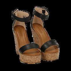 Sandali neri in eco-pelle, zeppa 12 cm , Scarpe, 154981001EPNERO035, 002a