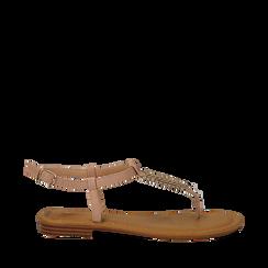 Sandali flat infradito nude in eco-pelle, Primadonna, 134985281EPNUDE035, 001a