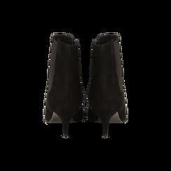 Stivaletti Chelsea neri in vero camoscio, tacco midi 6 cm, Primadonna, 12D618401CMNERO, 003 preview