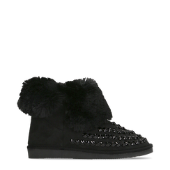 Scarponcini invernali neri con risvolto in eco-fur, Scarpe, 125001328MFNERO036, 001a