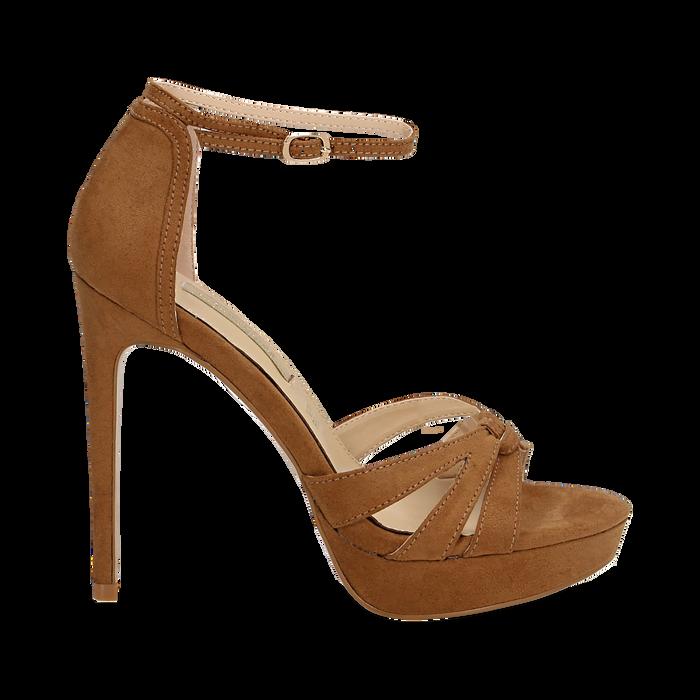 Sandali marroni in microfibra, tacco stiletto 12 cm, Sandali con tacco, 132182184MFMARR037