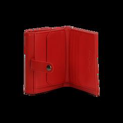 Portafoglio compatto rosso in ecopelle con 6 vani, Borse, 122200895EPROSSUNI, 005 preview