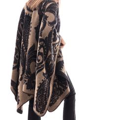 Poncho nero con stampa paisley in tessuto , Abbigliamento, 14B400003TSNERO3XL, 002a