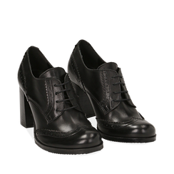 Stringate nere in pelle con lavorazione Duilio, tacco 8 cm , Scarpe, 148900020VINERO036, 002a