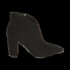 Ankle boots en microfibre noir, talon 9 cm, Promozioni, 164916101MFNERO036, 001 preview