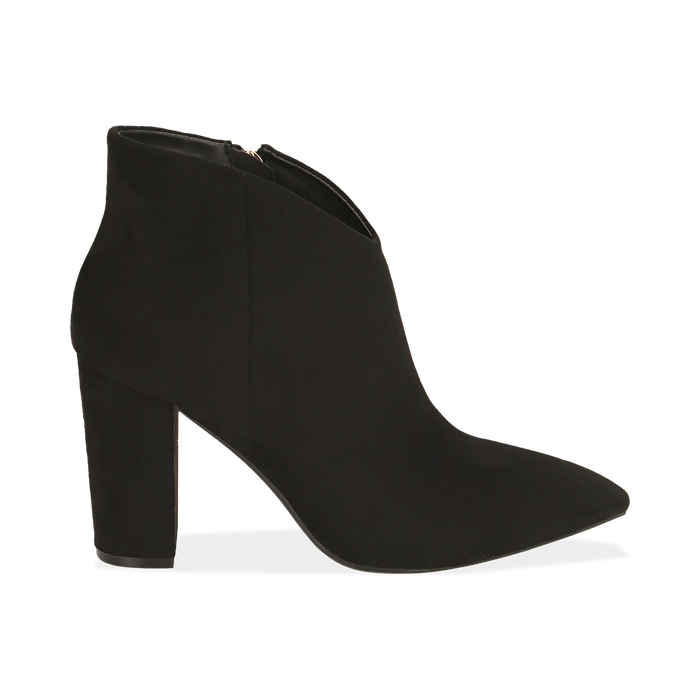 Ankle boots en microfibre noir, talon 9 cm, Promozioni, 164916101MFNERO036
