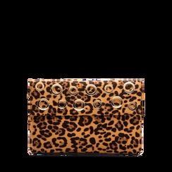Pochette bustina leopard in microfibra con oblò dorati, Borse, 123308604MFLEOPUNI, 001a