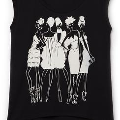 T-shirt nera in tessuto con stampa bianca minimal , Abbigliamento, 13I730078TSNEROL, 002 preview