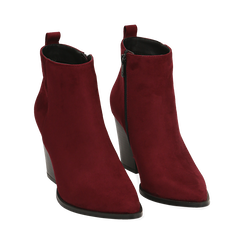 Ankle boots bordeaux in microfibra, tacco 8,50 cm, Primadonna, 160585965MFBORD035, 002 preview