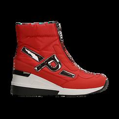 Sneakers a calza rosse in tessuto tecnico, zeppa 6 cm , Scarpe, 14A718203TSROSS036, 001 preview