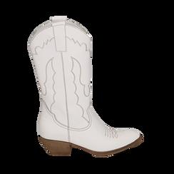 Camperos bianchi in pelle, tacco 4 cm, Scarpe, 157732902PEBIAN037, 001 preview