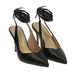 Slingback lace-up negro, tacón 9 cm, Zapatos, 172106620EPNERO036, 002a