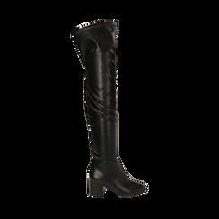 Stivali overknee neri in microfibra, tacco 6,50 cm , Primadonna, 164911283EPNERO038, 001a