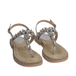 Sandali infradito argento laminati con pietre, Chaussures, 154950331LMARGE037, 002a