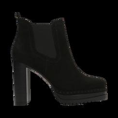 Chelsea Boots neri scamosciati, tacco 10 cm, Scarpe, 128403191MFNERO, 001 preview