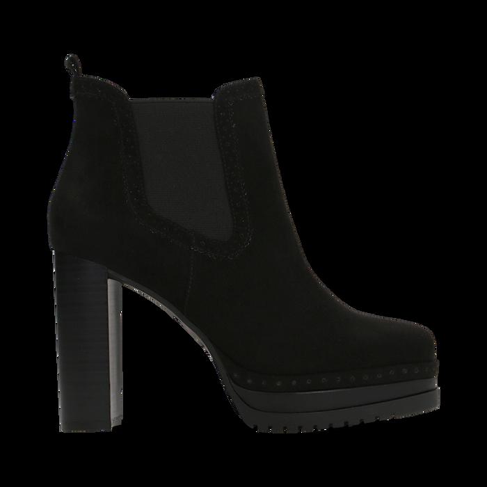 Chelsea Boots neri scamosciati, tacco 10 cm, Scarpe, 128403191MFNERO