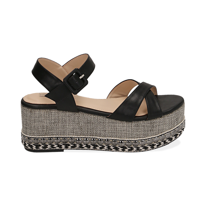 WOMEN SHOES WEDGE ECO-LEATHER NERO, Chaussures, 154960902EPNERO038