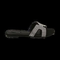 Ciabatte nere in microfibra con strass, Scarpe, 154983281MPNERO036, 001 preview