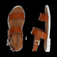 Sandali flat cuoio in eco-pelle, Saldi Estivi, 136102086EPCUOI036, 003 preview