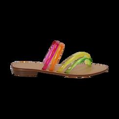 Sandali flat multilistino fluo multicolor in pvc, Primadonna, 134950613PVMULT036, 001 preview
