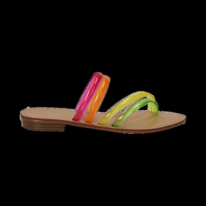 Sandali flat multilistino fluo multicolor in pvc, Primadonna, 134950613PVMULT036