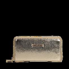 Portafogli argento in eco-pelle snake print, Primadonna, 155122519EVOROGUNI, 001a