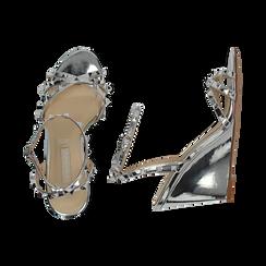 Sandali argento effetto specchio, zeppa 9 cm, Scarpe, 152154429SPARGE036, 003 preview