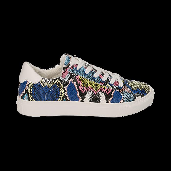Sneakers nero/blu stampa pitone, Scarpe, 152607101PTNEBL