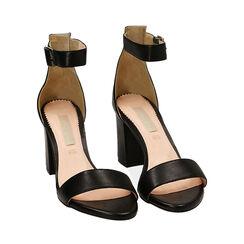 Sandali neri in pelle di vitello, tacco 8,5 cm, Primadonna, 15D600501VINERO040, 002 preview