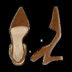 Slingback marroni in microfibra, tacco a rocchetto 7,5 cm , Scarpe, 132133671MFMARR035, 003 preview