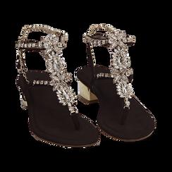 Sandali neri in microfibra con pietre, tacco 3,5 cm, Primadonna, 154927101MFNERO036, 002 preview