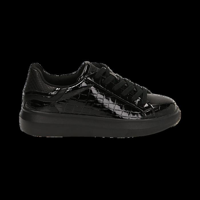 Sneakers noires en vernis, Primadonna, 162602011VENERO035