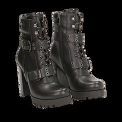 Biker boots con fibbie neri in eco-pelle, tacco 9,5 cm , 142898735EPNERO035, 002a