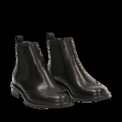 Chelsea boots neri in vera pelle, Stivaletti, 147729508PENERO035, 002a