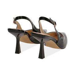 Slingback negro de charol, tacón 8 cm,  Zapatos, 174823795VENERO037, 004 preview