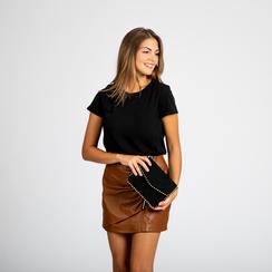 Pochette con tracolla nera in microfibra scamosciata, profili mini-borchie, Saldi Borse, 123308852MFNEROUNI, 005 preview