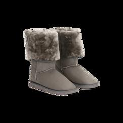 Scarponcini invernali scamosciati grigi con risvolto in eco-fur, Primadonna, 125001204MFGRIG037, 002