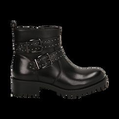 Biker boots con fibbie e borchie neri in eco-pelle, tacco 4,5 cm , Scarpe, 143069629EPNERO036, 001 preview
